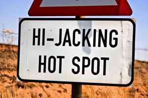Hi-jacking road sign