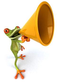 Tree frog using a megaphone