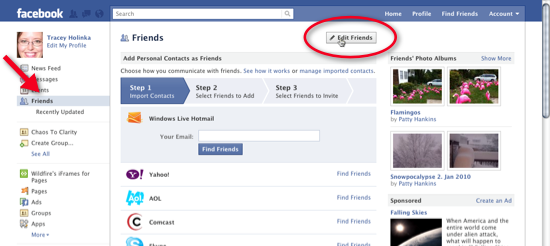 screenshot of creating a Facebook friends list